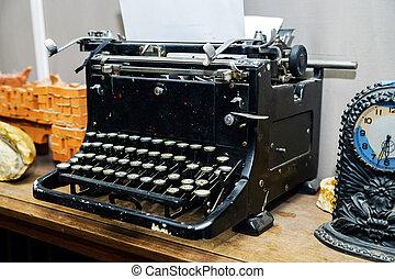 古い, 型, ペーパー, 白紙, タイプライター