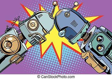 古い, 型, ロボット, ∥対∥, イラスト, 新しい