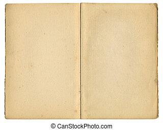 古い, 型, 上に, 本, 隔離された, ページ, white., 中