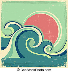 古い, 型, 抽象的, 波, poster.vector, 海景, 海, ポスター, 太陽