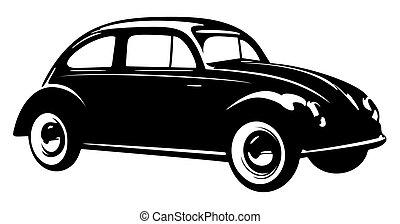 古い, 型, 隔離された, 背景, 自動車, 白