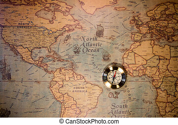 古い, 型, map., バックグラウンド。, 物語, 冒険, コンパス, style., レトロ