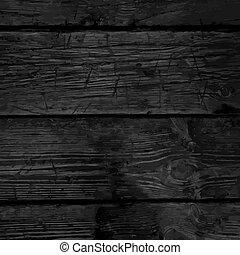 古い, 堅材, 木製である, 木, 手ざわり, 暗い, ベクトル, 黒い背景, モノクローム, 板, ...