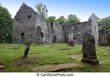 古い, 墓地, gothic, イギリス, スコットランド, 台なし