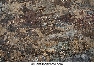古い, 壁, 型, セメント, バックグラウンド。, 錆ついた, 通り, 表面, グランジ, 荒い, 年を取った