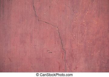 古い, 壁, 型, セメント, バックグラウンド。, 錆ついた, 通り, 表面, グランジ, 荒い, 年を取った, 赤
