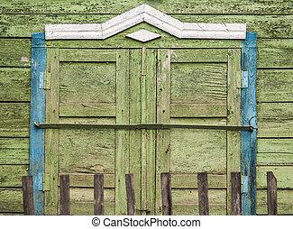 古い, 壁, 型, 木製である, 窓, 納屋