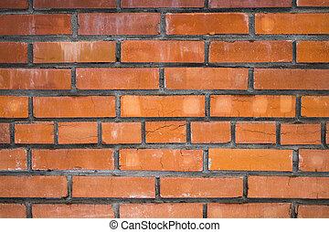 古い, 壁, 手ざわり, 背景, れんが, 赤