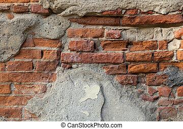 古い, 壁, 皮プラスター, 背景, グランジ, れんが