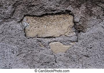 古い, 壁, concrete., カバーされた, 白い煉瓦