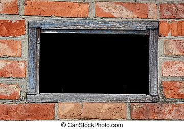 古い, 外気に当って変化した, -, フレーム, text., 窓