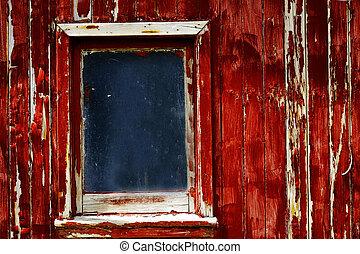 古い, 外気に当って変化した, ペンキ, 窓, 木, 赤