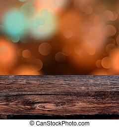 古い, 外気に当って変化した, 木製である, 光っていること, ライト, bokeh, 板, 背景, パーティー