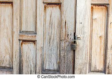 古い, 外気に当って変化した, 木製の戸, 作られた, から, planks.