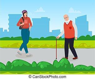 古い, 女の子, 人々男, バックパック, park., 都市, 都市, glasses., 杖, ライフスタイル