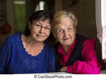 古い 女性, 彼の, moter