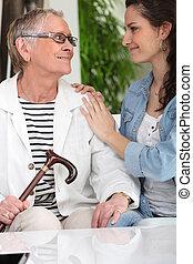 古い 女性, 若い, carer