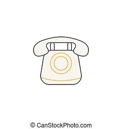 古い, 媒体, 型, 電話, 社会, アイコン, 呼出し, 線