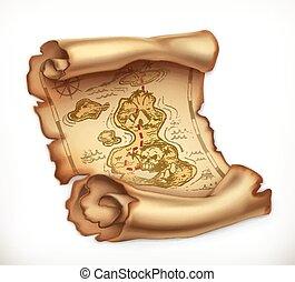 古い, 宝物地図, ベクトル, island., 3d, アイコン