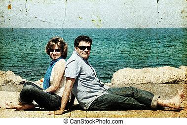 古い, 家族写真, イメージ, sea., 背景, 肖像画, style., 幸せ