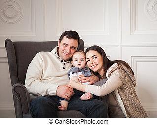 古い, 家族, 1(人・つ), 年, 赤ん坊, 微笑の女の子, 幸せ
