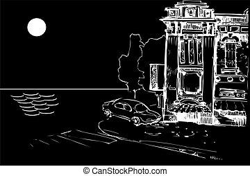 古い, 家, 夜, 海, 自動車, ファサド
