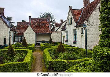 古い, 家, bruges, 公園, ベルギー, 小さい