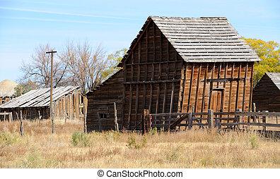 古い, 小屋, 中に, ユタ, 農業, 共同体