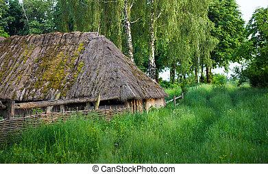 古い, 小屋, straw-thatched, roof., 木製である