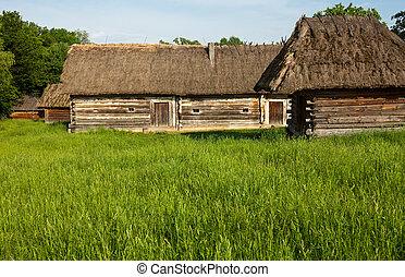 古い, 小屋, straw-thatched, roofs., 木製である