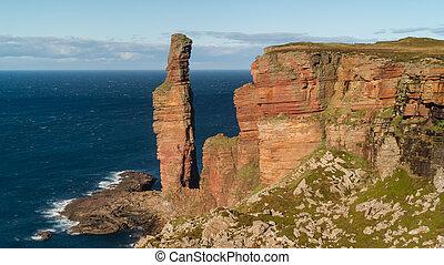 古い, 島, scotland., 離れて, hoy, 海岸, 群島, 部分, 海, 北, orkney, 山, 人