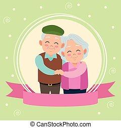 古い, 幸せ, カード, 日, 祖父母, 恋人