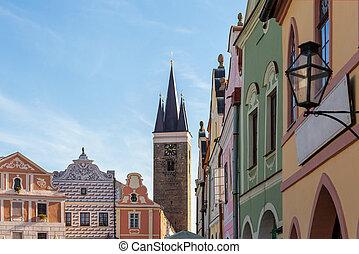 古い, 広場, 共和国, telc, 有名な場所, 町, チェコ