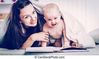 古い, 彼女, 母, 子供, 1(人・つ), 本, 年, 読書, 幸せ