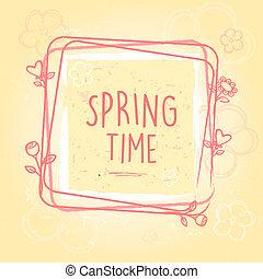 古い, 心, 春, フレーム, ペーパー, 背景, 時間, 花
