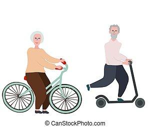 古い, 恋人, bicycle., 乗馬, スクーター, 蹴り, 幸せ