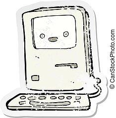 古い, 悲嘆させられた, ステッカー, コンピュータ, レトロ, 漫画
