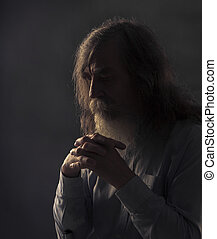 古い, 折られる, 暗い, 手, 祈とう, シニア, 祈ること, 人