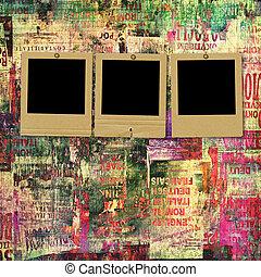 古い, 抽象的, 引き裂かれた, スライド, ペーパー, 背景, ポスター, グランジ
