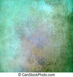 古い, 抽象的, 手ざわり, 緑の背景, グランジ