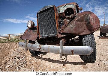 古い, 捨てられた, アメリカ, アメリカ人, 自動車, 破壊しなさい