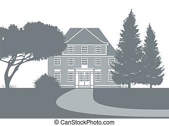 古い, 提示, 公園, イラスト, 定型, 大邸宅