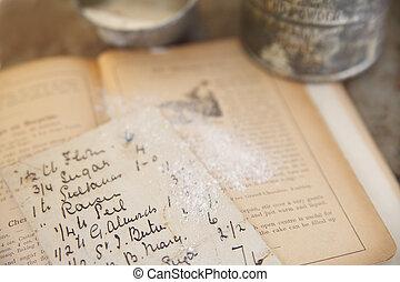 古い, 料理の本, レシピ, 手書き
