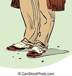 古い 方法, 情報通, 靴, 人