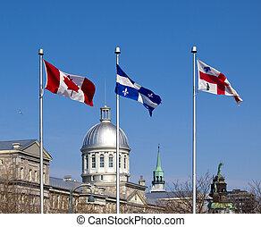 古い, 旗, ケベック, カナダ, 港, モントリオール