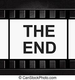 古い, 映画, filmstrip., frame., 終り