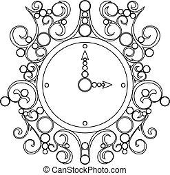 古い, 時計, 型, ベクトル, 背景, 白