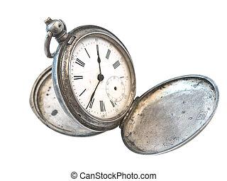 古い, 時計, 銀, 上に