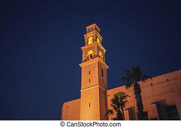 古い, 景色。, st. 。, 教会, jaffa, israel., ピーター, 夜, 光景, 都市, tel-aviv, カトリック教