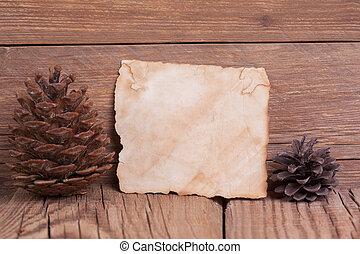 古い, 木製である, こぶ, ペーパー, 背景, 白紙